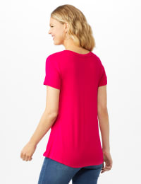 V Front  Knit Screen Tunic - Misses - Fuschia - Back