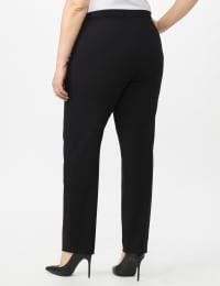 Roz & Ali Secret Agent Pull On Tummy Control Pants with Pockets - Short Length - Black - Back