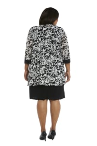 Scroll Mesh  Jacket with Sheath Dress - Plus - Black/White - Back