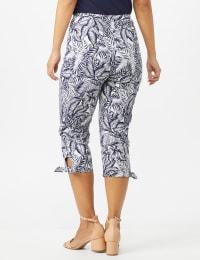 Printed Pull on Pants Tie Hem Capri - Navy/White - Back