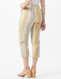 Striped Pull On Drawstring Crop - Gold Stripe - Back