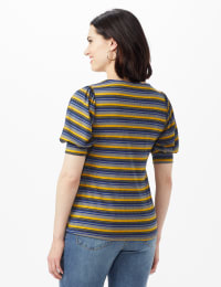 3 Button Stripe Puff Sleeve Knit Top - Petite - Denim - Back