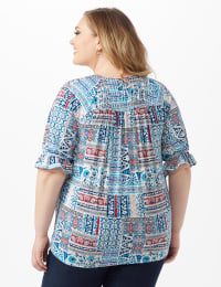Patchwork Peasant Knit Top - Plus - Blue - Back