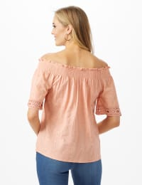 Eyelet Woven Peasant Top - Pink - Back