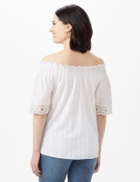 Eyelet Woven Peasant Top - White - Back
