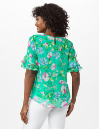 Floral Ruffle Sleeve Blouse - Green - Back