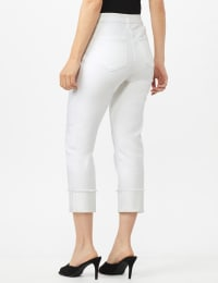 Authentic Stretch Straight Leg Denim Pants with High Fray Cuff - White - Back