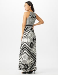 Halter Neck  Medallion Print with Stripes Maxi Dress - White/Black - Back