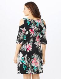 Cold Shoulder Elbow Sleeve Etched Floral Dress - Petite - Black - Back