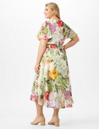 V-neck Chiffon Jacquard Botanical Floral Dress - Plus - Ivory/Rose - Back