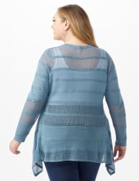 Button Front Sharkbite Cardigan - Plus - Antique Blue - Back