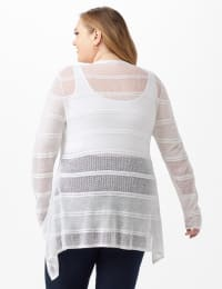 Button Front Sharkbite Cardigan - Plus - White - Back