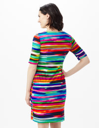 Elbow Sleeve Watercolor Stripe Bandage Dress - Royal - Back