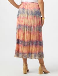 Pull On Crinkle Skirt - Indigo/ Coral - Back