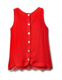 Westport Embroidered Blouse - Red/Blue - Back