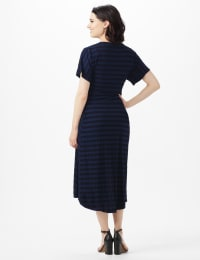 Tonal Stripe Tie Waist Sharkbite Hem Dress - Dark Navy - Back