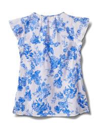 Floral Voile Woven Peasant - Antique Blue - Back