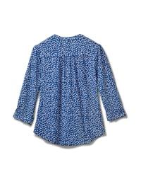 Denim Dot Pintuck Popover Knit Top-Petite - Denim - Back