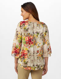 Roz & Ali Fly Away Back Lurex Blouse - Misses - Taupe - Back