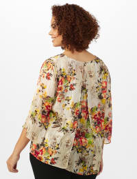 Roz & Ali Fly Away Back Lurex Blouse - Plus - Taupe - Back
