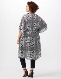 Animal Tie Front Belted Kimono - Plus - White/Black - Back