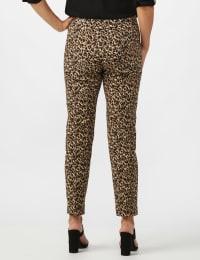 Roz & Ali Animal Print Superstretch Pull On Ankle Pants with Slit Hem - Black/Taupe - Back