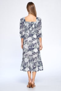 Floral Print Everyday Dress - Blue - Back