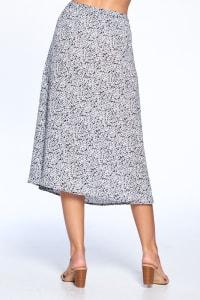 Button Front Ankle Length Skirt - Black - Back