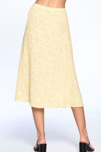 Button Front Ankle Length Skirt - Mustard - Back