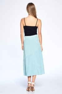 Dot Print Ankle Length Skirt - Dusty Mint - Back