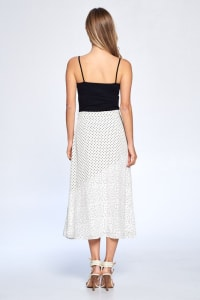 Dot Print Ankle Length Skirt - Ivory - Back