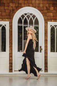 Juliette Dress in Black - Black - Back