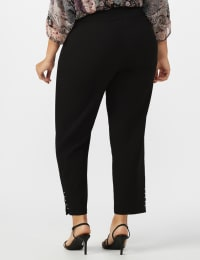 Roz & Ali Solid Superstretch Tummy Panel Pull On Ankle Pants With Rivet Trim Bottom - Plus - Black - Back