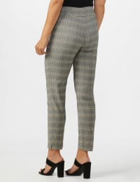 Roz & Ali Yarn Dye Plaid Pull On Waist Ankle Pant - Misses - Black/Grey - Back