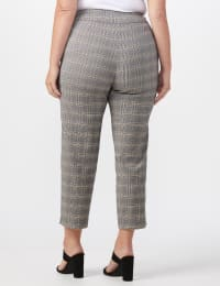 Roz & Ali Yarn Dye Plaid Pull On Waist Ankle Pant - Plus - Black/Grey - Back