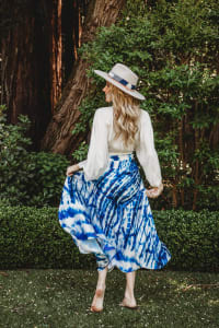 Maxi Skirt in Blue Tie Dye - Blue - Back