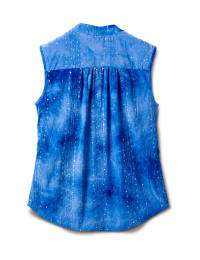 Jaquard Tie Dye Knit Popover-Petite - Dignity Blue - Back