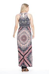 Large Madallion Print Maxi Dress - Navy/Coral - Back
