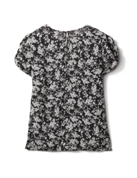 Keyhole Back White and Black Floral Blouse - White Black Floral - Back