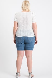 Cute Puff Short Sleeve Top - Cream - Back