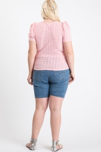 Cute Puff Short Sleeve Top - Pink - Back