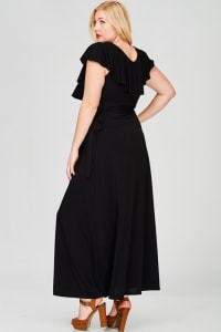 Ruffled Wrap Maxi Dress - Black - Back