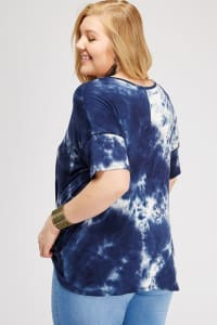 Loosen Up Tie Dye Top - Navy - Back
