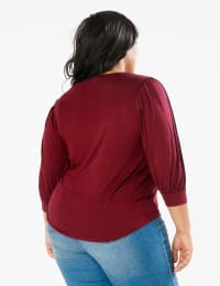 3/4 Sleeve Scoop  Puff Sleeve Knit Top - Plus - Wine - Back
