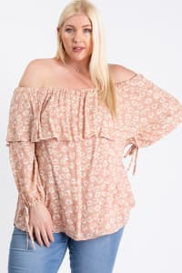 Comfy Off-Shoulder Blouse - Blush - Back