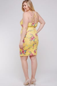 Hard to Get Floral Dress - Yellow - Back