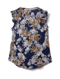 Puff Print Knit Top with Bar Trim - Navy/Gold/White - Back
