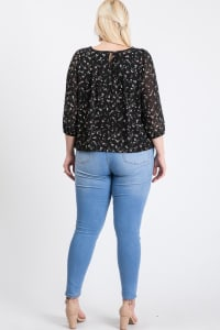 Floral Long Sleeve Top - Black - Back