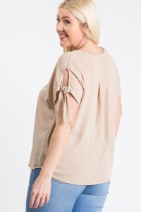 Ribbon Sleeve Top - Taupe - Back
