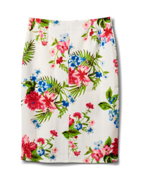Floral Print Scuba Crepe Pull On Skirt - White cotton - Back